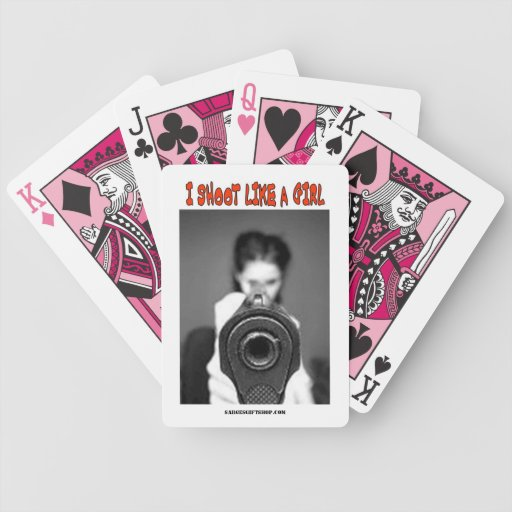 I SHOOT LIKE A GIRL BICYCLE PLAYING CARDS