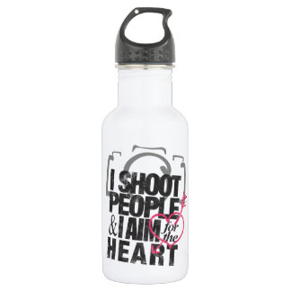 I Shoot People & Aim for the Heart Stainless Steel Water Bottle