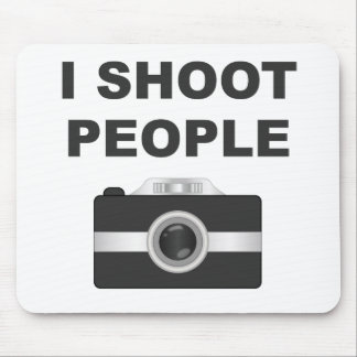 I Shoot People Black Camera Mouse Pads