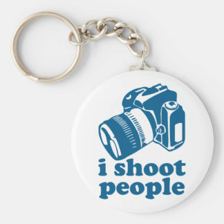 I Shoot People - Blue Basic Round Button Keychain