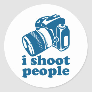 I Shoot People - Blue Classic Round Sticker