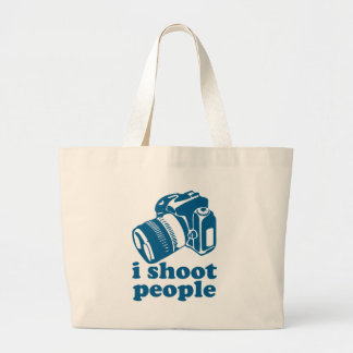 I Shoot People - Blue Large Tote Bag