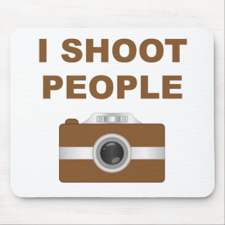I Shoot People Brown Camera Mouse Pads
