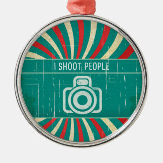 I shoot people - camera in retro background metal ornament