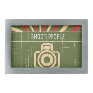 I shoot people- camera rectangular belt buckle