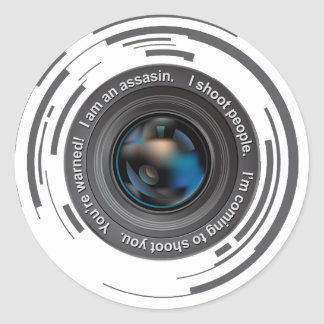 I shoot people classic round sticker