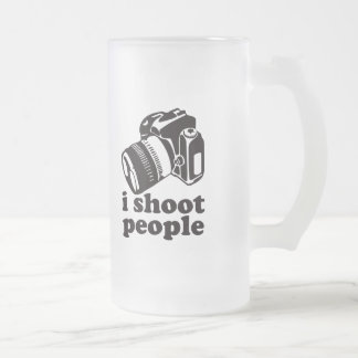 I Shoot People! Frosted Glass Beer Mug
