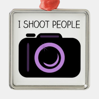 I Shoot People Funny Photographer Saying Metal Ornament