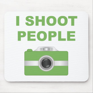 I Shoot People Green Camera Mousepad