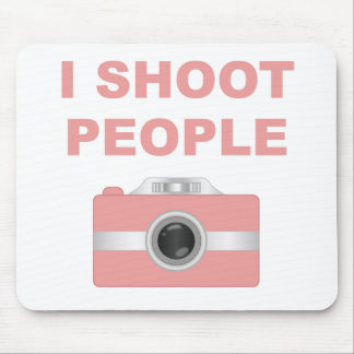 I Shoot People Pink Camera Mouse Pad