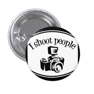 I Shoot People Retro Photographer's Camera B&W 1 Inch Round Button
