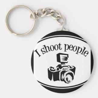 I Shoot People Retro Photographer's Camera B&W Basic Round Button Keychain