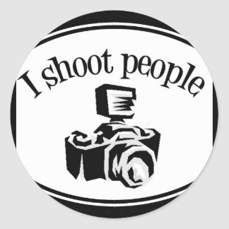 I Shoot People Retro Photographer's Camera B&W Classic Round Sticker