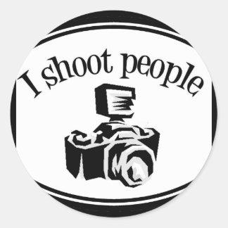 I Shoot People Retro Photographer's Camera B&W Classic Round Sticker