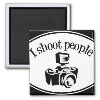 I Shoot People Retro Photographer's Camera B&W Magnet