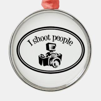 I Shoot People Retro Photographer's Camera B&W Metal Ornament