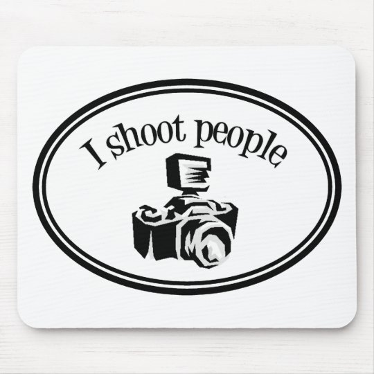 I Shoot People Retro Photographer's Camera B&W Mouse Pad