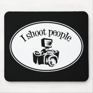 I Shoot People Retro Photographer's Camera B&W Mouse Pads