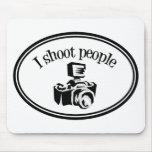 I Shoot People Retro Photographer's Camera B&W Mousepad