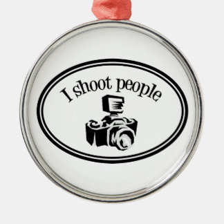 I Shoot People Retro Photographer's Camera B&W Christmas Ornaments