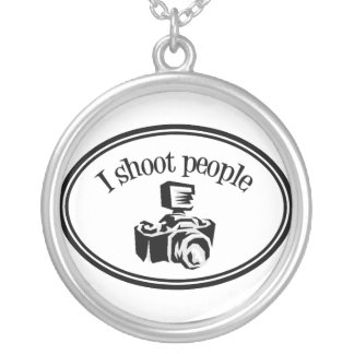 I Shoot People Retro Photographer's Camera B&W Silver Plated Necklace