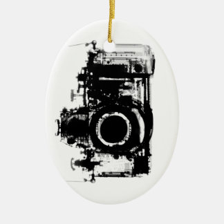 I SHOOT PEOPLE X-RAY VISION CAMERA - BLACK & WHITE Double-Sided OVAL CERAMIC CHRISTMAS ORNAMENT