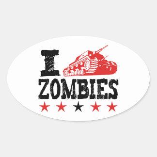 I Shoot Zombies Using Tank Oval Sticker