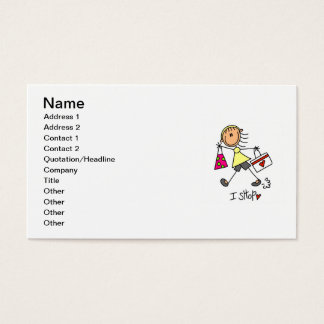 I Shop Stick Figure Girl Business Card