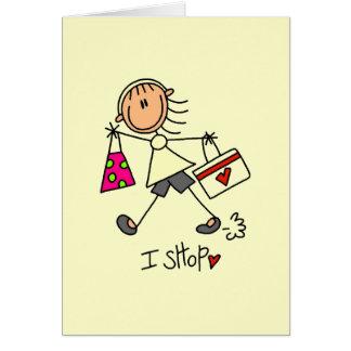 I Shop Stick Figure Girl Stationery Note Card