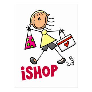 I SHOP Stick Figure T-Shirts & Gifts Postcard
