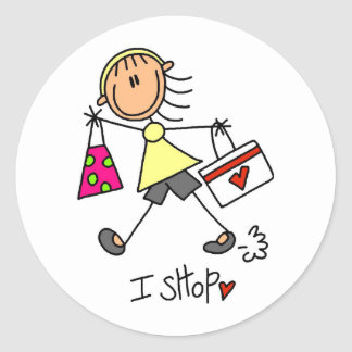 I Shop Tshirts and Gifts Classic Round Sticker