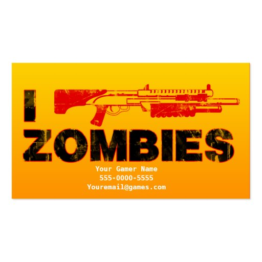 I Shotgun Zombies Video Game Gamer Business Cards