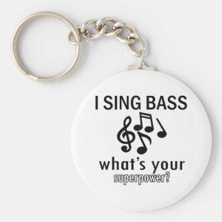I sing bass basic round button keychain