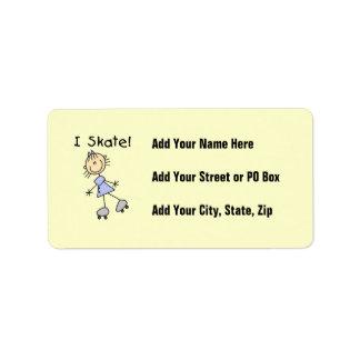 I Skate - Girl Roller Skater Custom Address Label
