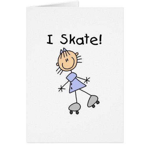 I Skate Girl Roller Skater Greeting Cards