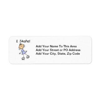 I Skate Girl Roller Skater Custom Return Address Label