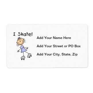 I Skate Girl Roller Skater Personalized Shipping Label