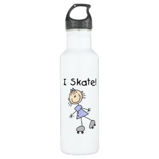 I Skate - Girl Roller Skater 24oz Water Bottle