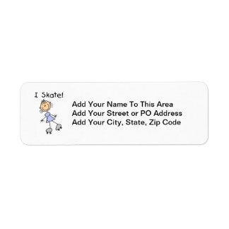I Skate - Girl Roller Skater Return Address Label