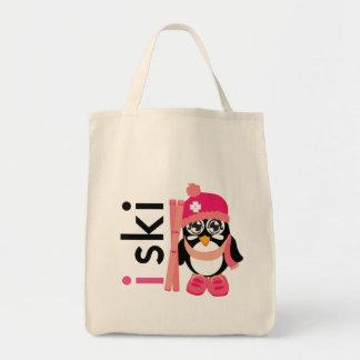I Ski Penguin Canvas Bags