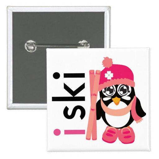 I Ski Penguin Button