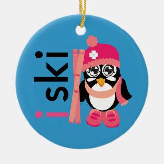 I Ski Penguin Ceramic Ornament