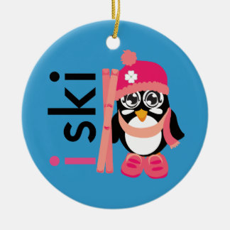 I Ski Penguin Double-Sided Ceramic Round Christmas Ornament