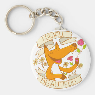 i smell beautiful fox with red roses basic round button keychain