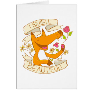 i smell beautiful fox with red roses card