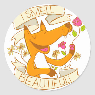 i smell beautiful fox with red roses classic round sticker