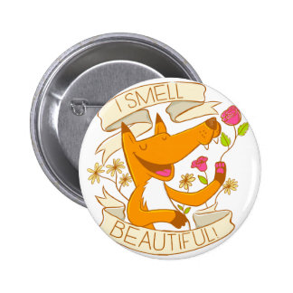 i smell beautiful fox with red roses pinback button