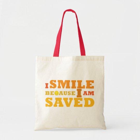 I Smile Because I am Saved cloth tote bag