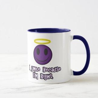 I Smile Because I'm Right Purple Mug