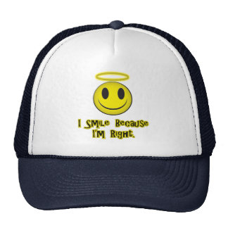 I Smile Because I'm Right Yellow Trucker Hat